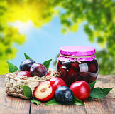 Ripe plum and fresh canned Stock Image