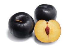 Ripe plum. Plum on white background. Stock Images