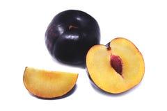 Ripe plum. Plum on white background. Royalty Free Stock Photo