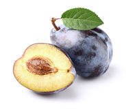 Ripe plum. S on a white background Royalty Free Stock Images