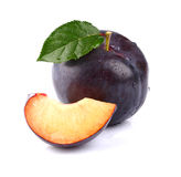 Ripe plum with slice Stock Image