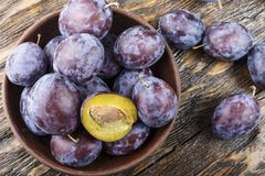Ripe plum with  top view. New agricultural crop Stock Image
