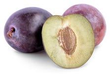 Ripe plum   on white background Royalty Free Stock Photos