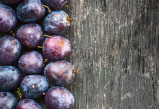 Ripe plum on a wooden background Stock Photos