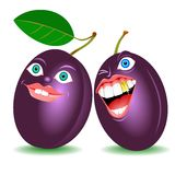 Ripe plums face. Ripe fruit plums laugh drawing Stock Images