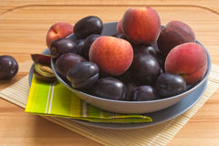 Ripe Plums and Peaches. Stock Photography