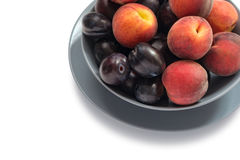 Ripe Plums and Peaches Stock Photography