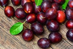 Ripe plums on table Royalty Free Stock Photography