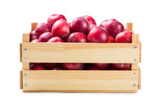 Ripe plums in a wooden box Royalty Free Stock Photo