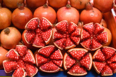 Ripe pomegranate fruit isolated in market Royalty Free Stock Photography