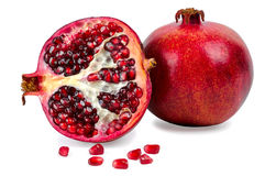 Ripe pomegranate fruit isolated on white Royalty Free Stock Photo