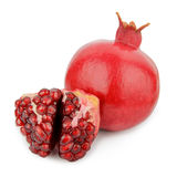 Ripe pomegranate fruit isolated on white background cutout Royalty Free Stock Photography