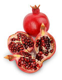 Ripe pomegranate fruit isolated on white background cutout Stock Photo
