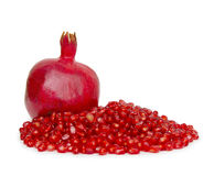 Ripe pomegranate fruit isolated on white background cutout Royalty Free Stock Photo