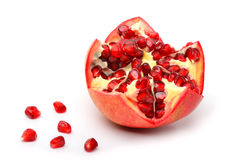 Ripe pomegranate fruit and pomegranate seeds Stock Photos