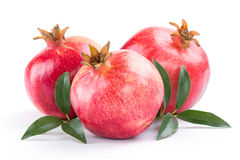 Ripe pomegranate with leaves Royalty Free Stock Image