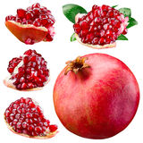 Ripe pomegranate, section and leaves isolated on a white. Collec Stock Photos