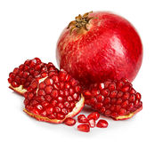 Ripe pomegranates close-up on a white background Stock Photography