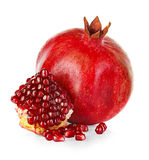 Ripe pomegranates isolated on a white Royalty Free Stock Photos
