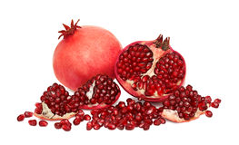 Ripe pomegranates with seeds isolated Stock Photos