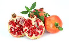 Ripe pomegranates withe leaves Stock Photography