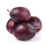 ripe prune or plum isolated on a white background Stock Photos