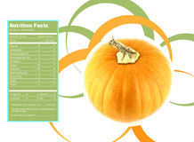 Ripe pumpkin nutrition facts. Creative Design for ripe pumpkin with Nutrition facts label stock illustration