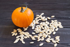 Ripe pumpkin with seeds Royalty Free Stock Images