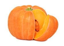 Ripe pumpkin with slice (isolated) Royalty Free Stock Images