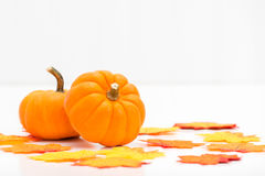 Ripe Pumpkins and Leaves Royalty Free Stock Image