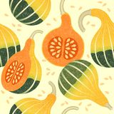 Ripe pumpkins seamless pattern. Harvest of decorative pumpkins. Whole and cut pumpkins. Shabby style. Original simple flat illustration. Halloween background vector illustration