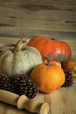 Ripe pumpkins on table. Royalty Free Stock Photo