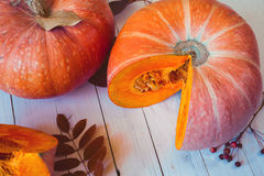 Ripe pumpkins on a white wooden table. Ripe autumn cut pumpkins on wooden table Stock Photography