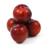 Ripe purple cherry plums isolated. On white Royalty Free Stock Images