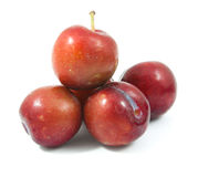 Ripe purple cherry plums isolated. On white Stock Images