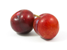 Ripe purple cherry plums. On white Royalty Free Stock Photos