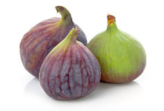 Ripe purple and green fig fruit isolated Royalty Free Stock Photography