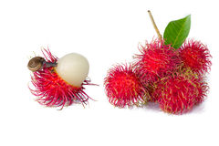 Ripe rambutan/red rambutan/asian fruit. Ripe rambutan isolate on white background Royalty Free Stock Photography
