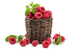 Ripe raspberries in basket Stock Photography