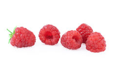 Ripe Raspberries in close up. Fresh raspberries in close up, isolated on white background Royalty Free Stock Photos