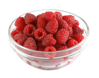 Ripe raspberries in a glass bowl Stock Photos