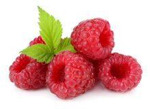 Ripe raspberries with green leaf isolated on white background macro Royalty Free Stock Images