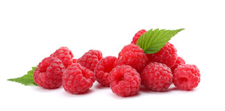 Ripe raspberries with green leaf isolated on white background macro. Ripe raspberries with green leaf isolated on a white background macro Royalty Free Stock Photos