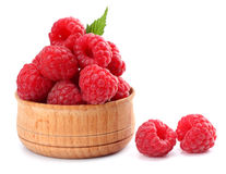 Ripe raspberries with green leaf isolated on white background macro. Ripe raspberries with green leaf isolated on a white background macro Royalty Free Stock Images