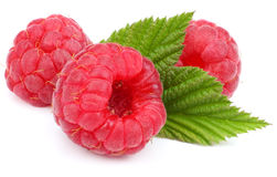 Ripe raspberries with green leaf isolated on white background macro. Ripe raspberries with green leaf isolated on a white background macro Stock Photos
