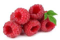 Ripe raspberries with green leaf isolated on white background macro Stock Photos