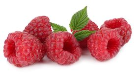 Ripe raspberries with green leaf isolated on white background macro Royalty Free Stock Image