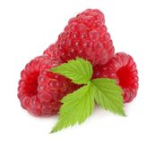 Ripe raspberries with green leaf  on white background macro Stock Image