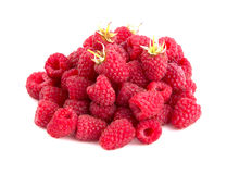 Ripe raspberries. Isolated on white background Stock Photos