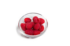 Ripe raspberries isolated. On white background close up royalty free stock photography